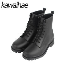 Round Toe Women Boots Rain Shoes Ankle Martins Female Waterproof Rain Boots Rubber Shoes Kawaihae Brand Martins 809