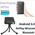 M6 plus 200 ansi portátil mini led proyector android 4.4 wifi bluetooth smart dlp 1080 p hogar beamer soporte airplay miracast ac3