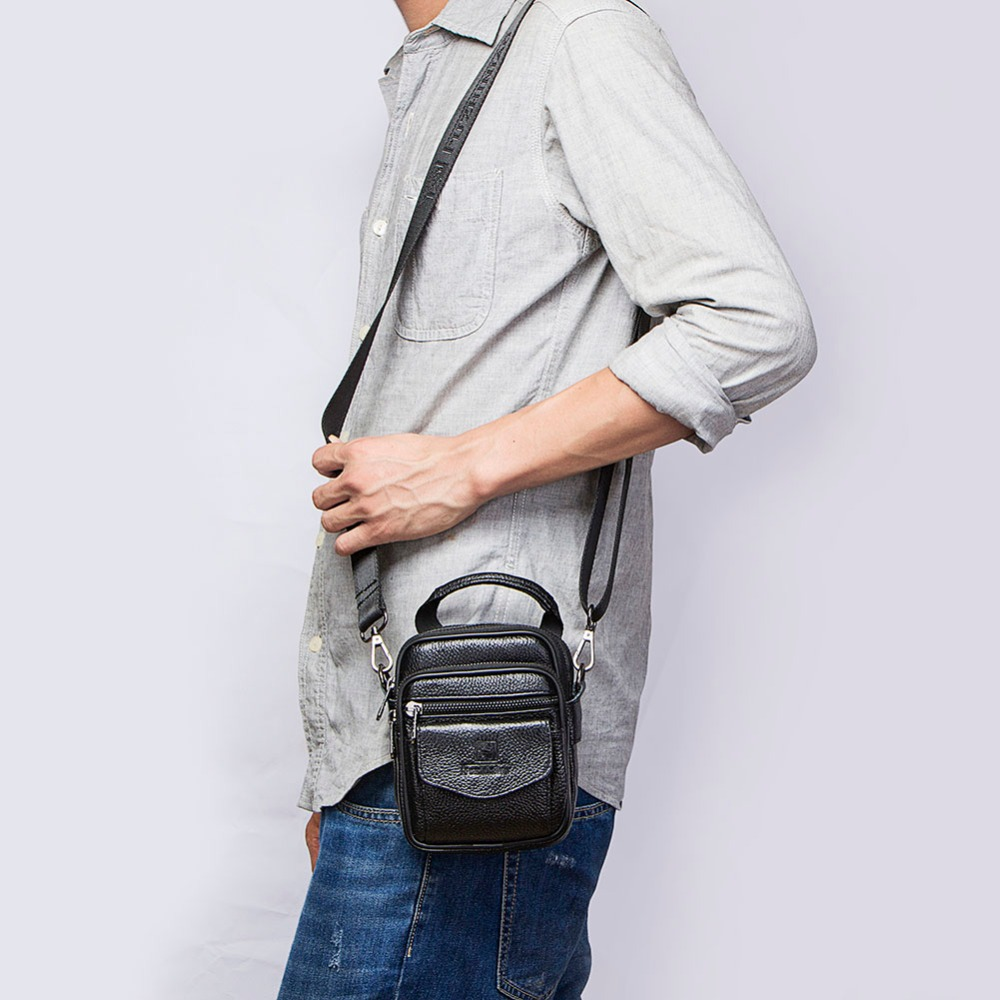 Image 5 - FUZHINIAO Small Genuine Cowhide Leather Men's Shoulder Bag Clutch Handbag Messenger Male Bags Crossbody Sling Tote Small Zipper