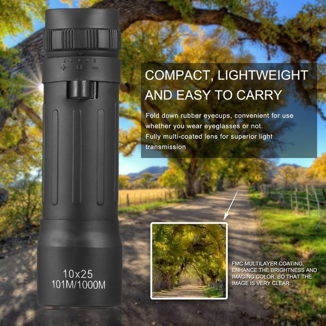 US $2 97 18% OFF|OUTAD Hunting Monocular Telescope 10 X 25 Compact  Lightweight Mini Camping Sport Monocular Scope Focus Zoom with Carry  Pouch-in