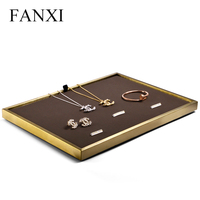 FANXI Jewelry Display Metal Ring Necklace Display Stand with leather Showcase jewelry Tray Stand