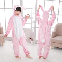 Kigurumi Cute Fannel Loose Rabbit Pajama for Girl New Year Winter Soft Jumpsuit Loose Hare Costume Kid Cosplay