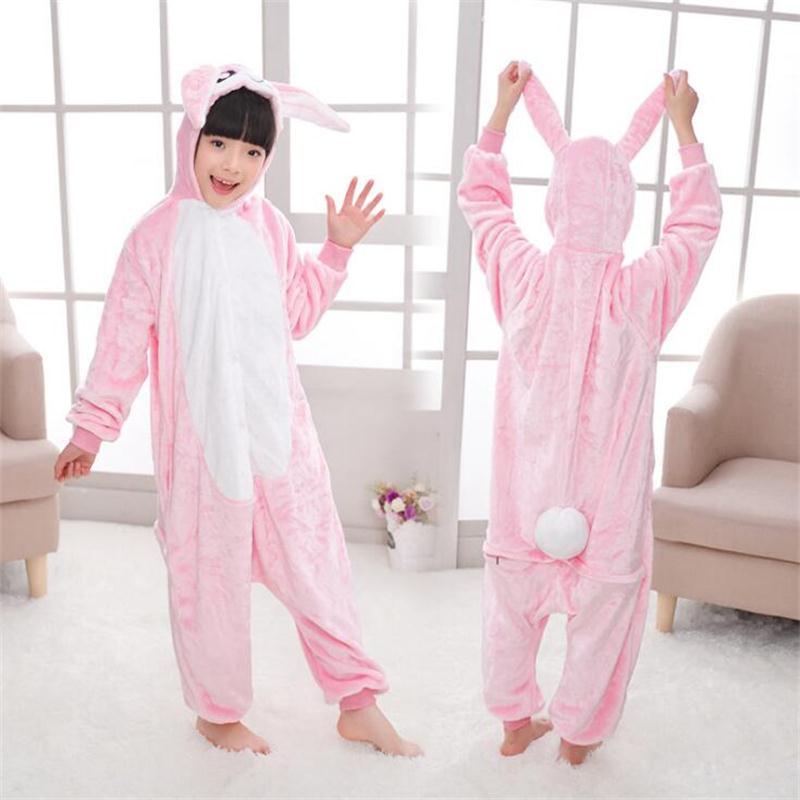 Mignon Fannel Lâche Kigurumi Lapin Pyjama pour Fille Nouvel An Hiver Doux Salopette Lâche Lièvre Costume Enfant Cosplay