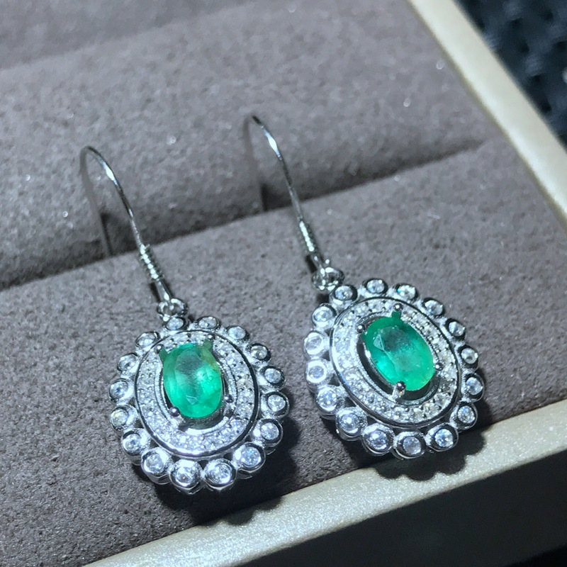 KJJEAXCMY Fine Jewelery Female earrings natural emerald earrings 925 sterling silver mosaic kind photo