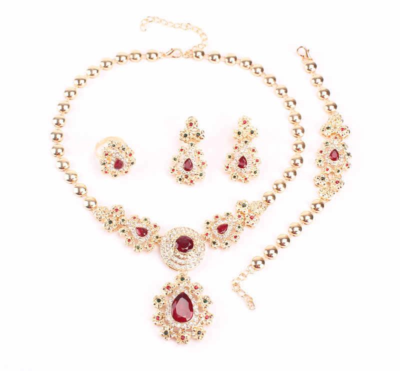 Edlen Schmuck Sets Für Frauen Hochzeit Zubehör Afrikanische Perlen Partei Geschenk Gold Farbe Kristall Halskette Ohrringe Sets