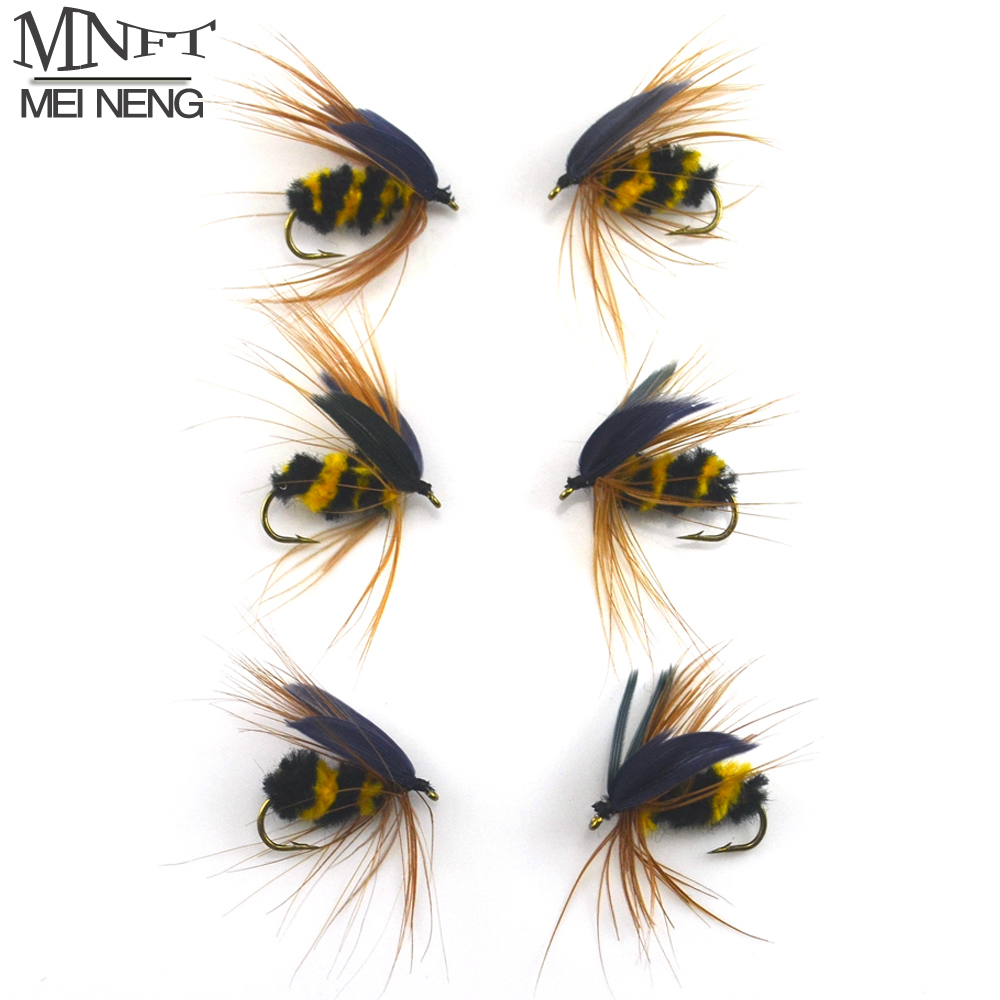 MNFT 6PCS #10 Black & Yellow Bumble Bee Fly Fishing Bass Trout Insect Lure Dry Flies Nymph Angling mnft 10pcs 6 brown color deer hair gold body muddler minnow fly bass fishing lure steamers trout streamer flies