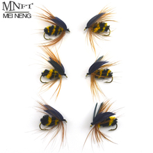 MNFT 6PCS #10 Black & Yellow Bumble Bee Fly Fishing Bass Trout Insect Lure Dry Flies Nymph Angling