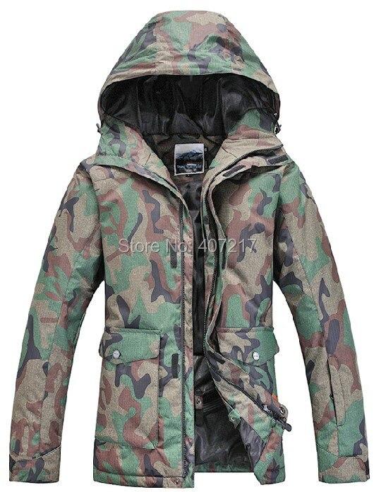 Prix pour 2015 hommes ski veste armée vert camouflage snowboard veste hommes manteau de neige vêtements de ski anorak veste d'alpinisme étanche 10 K