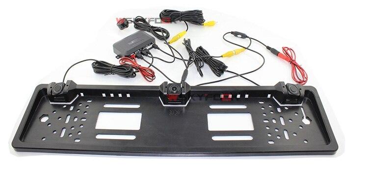 Auto Parktronic 2In1 Parking Système Européenne Cadre de Plaque D'immatriculation de Recul Arrière Vue Caméra Avec 2 Capteur Radar