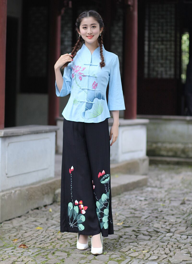 New Arrival Light Blue Black Chinese Women S Shirt Pants