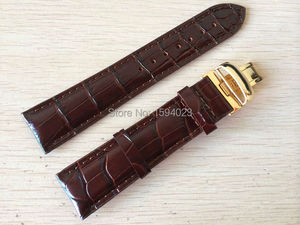 Image 5 - 20mm (Buckle18mm) T019430 High Quality gold Plated Pin Buckle + Brown Genuine Leather Watch Bands Strap