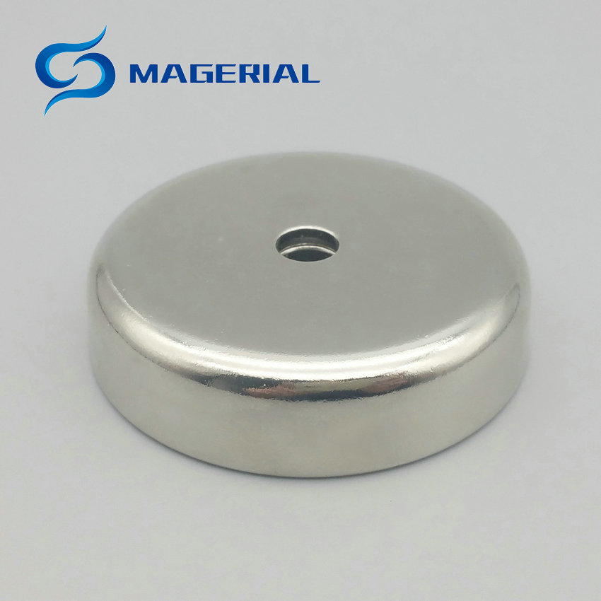 1 pack Mounting Magnet Diameter 60 mm Clamping Pot Magnet with Countersunk Screw Hole Neodymium Permanent Strong Holding Magnet 4pcs d48mm strong attracting force neodymium magnet pot with a countersunk hole working fixture antenna camera magnetic bases