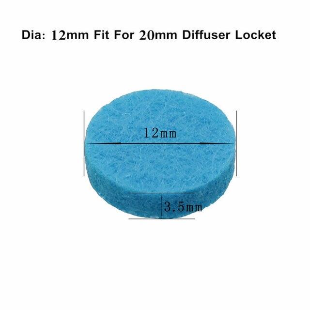 20 piezas almohadillas de fieltro de aromaterapia de colores a la moda 12mm apto para 20mm medallón difusor de aceites esenciales de color al azar