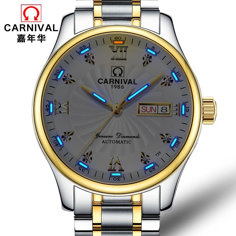 Tritium gas self-luminous watch Top brand CARNIVAL Automatic Watch Men Dual Calendar and week Waterproof mechanical watches men цена 2017