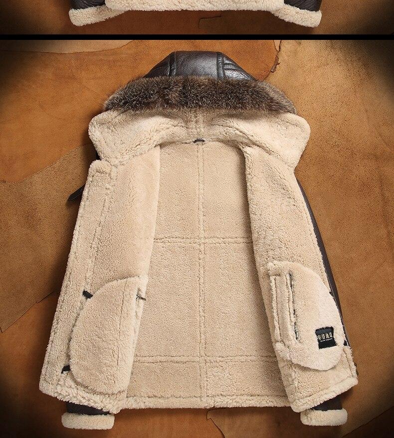 HTB127lSamSD3KVjSZFKq6z10VXar men genuine leather jacket man real original ecological sheepskin coat raccoon fur detachable hood winter jackets short design