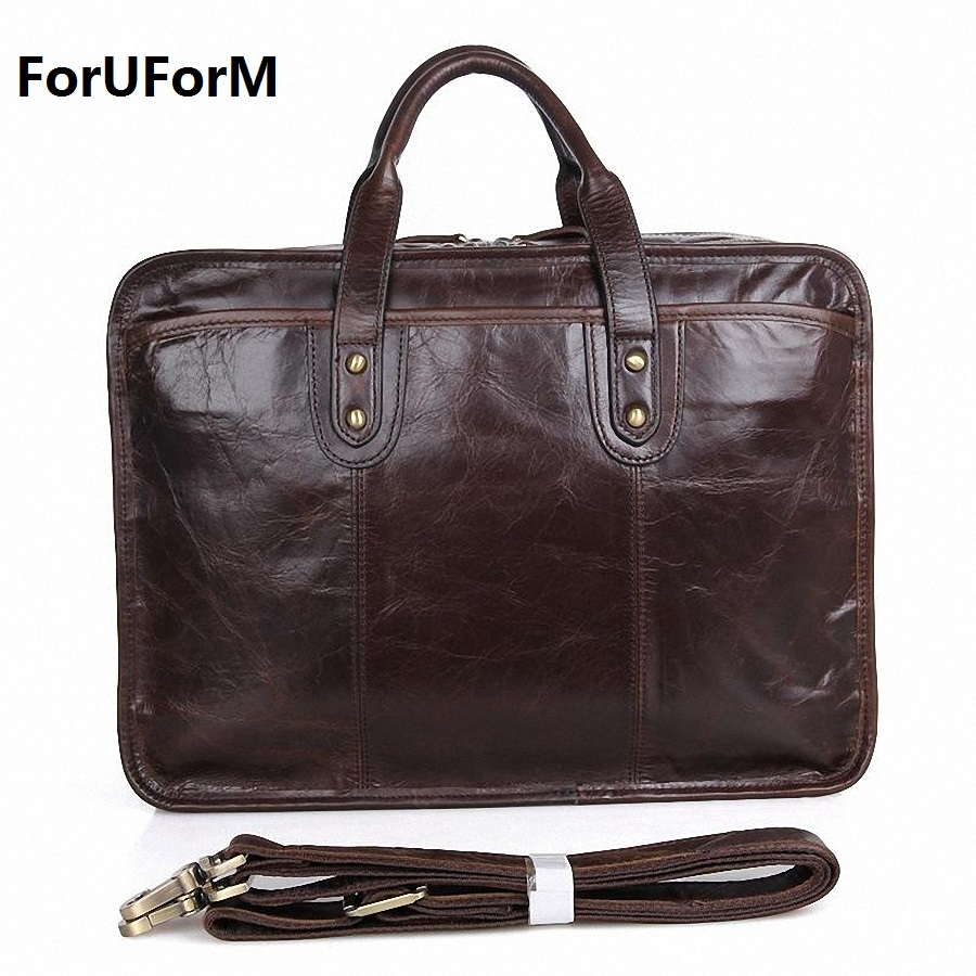 100% Real Genuine Leather Bags Men's Business Briefcase 15 inch Laptop Bag Men Travel Bags Messenger Bag Casual Handbag LI-1363 vintage real genuine leather handbag men messenger bags commercial briefcase men s travel bags business 15 6 laptop vp j7177