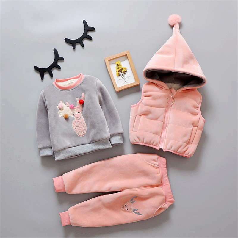 Infant Baby Girl Clothes Sets Baby Boy Clothing Sets 2018 Winter Clothes For Girls Thick Warm Coats+Vest+Pants 3Pcs Kids Suits baby girl clothes autumn newborn baby girl clothes sets 3pcs suits top pants headband infant girls outfits baby wear clothing