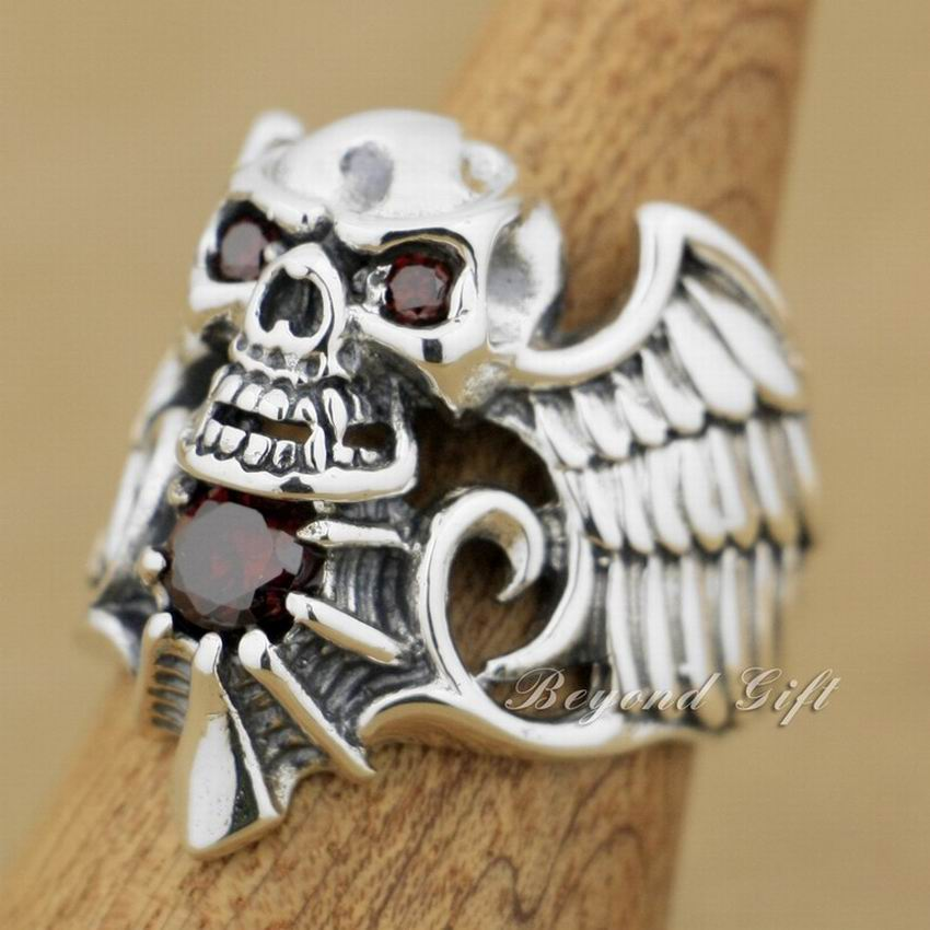 Solid 925 Sterling Silver Devil Wing Skull Red CZ Stone Mens Biker Ring 9M013A devil skull alloy biker ring