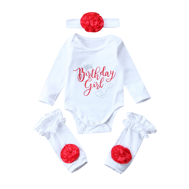 Baby Girls Birthday Romper Leg Warmers 3Pcs Newborn Baby Girl Floral Clothes Set Fall Outfits 2017 New Bebes Girl Clothing Sets