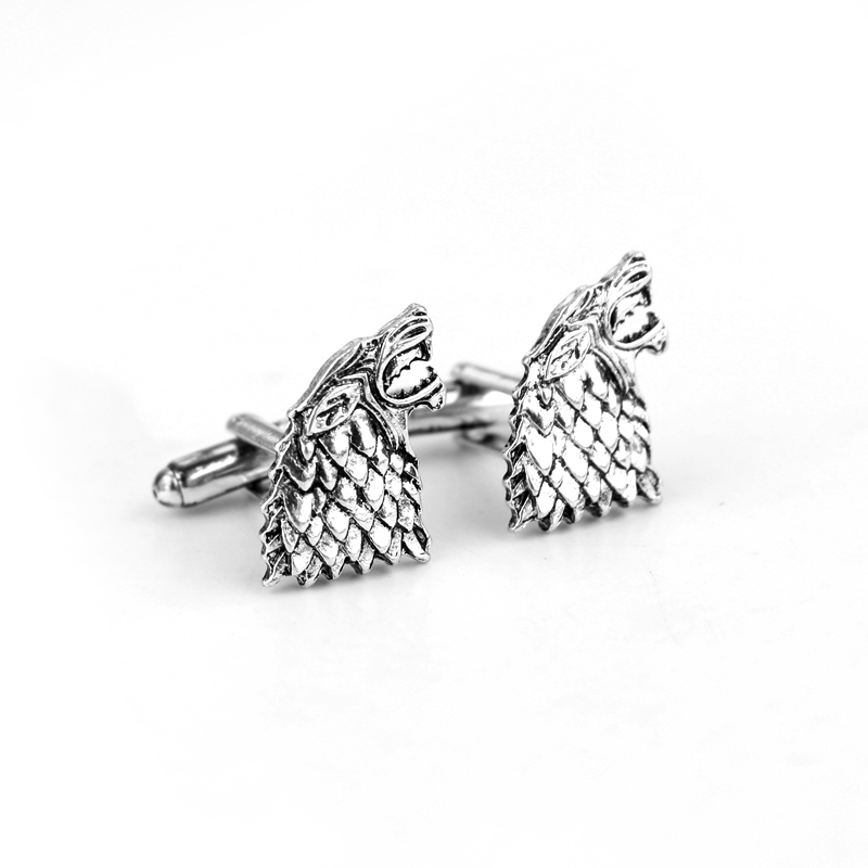 Movie Game Of Thrones <font><b>Wolf</b></font> Head <font><b>Cufflinks</b></font> Silver Zinc Alloy Cuff Links Male Business Meeting Standard Fashion Accessories image