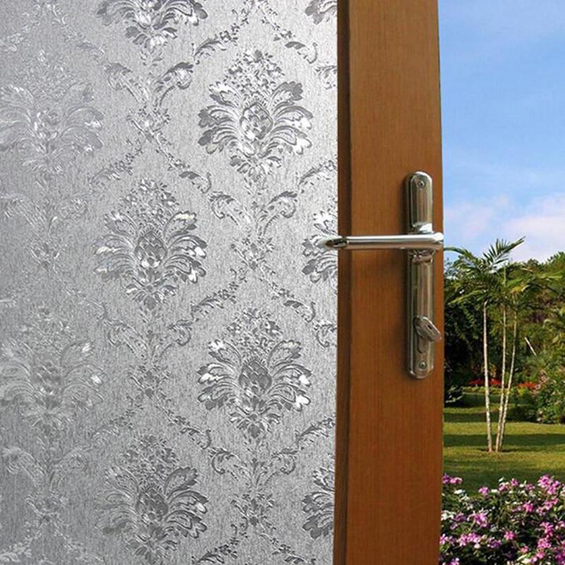 Inicio ventana Películas vidrio Adhesivos con patrón de flores dormitorio cuarto de baño vidrio decorativo autoadhesivo estático privacidad 9za259