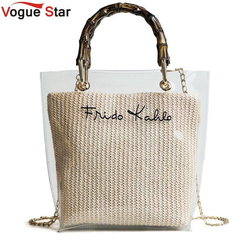 Summer 2018 Small Handbag Transparent Women Hand Bags Chain Straw bag Lady Travel Beach Shoulder Cross Body Bag Holiday L2