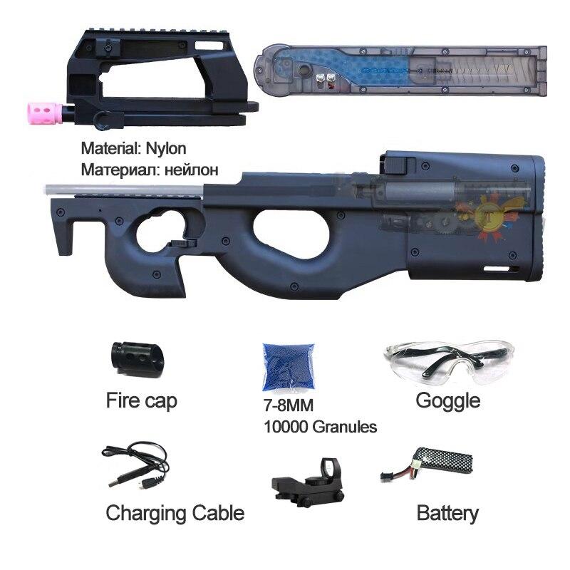 Pistolet à eau électronique drôle en Nylon P90 pour le jeu en plein air matériel en Nylon pistolets jouets pour enfants