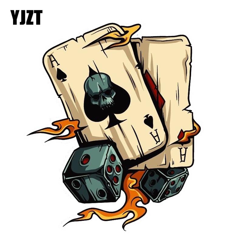 YJZT 14CM*16.7CM  Cartoon  Skull Aces Dice Gambling Decal PVC Motorcycle Car Decal  11-00812
