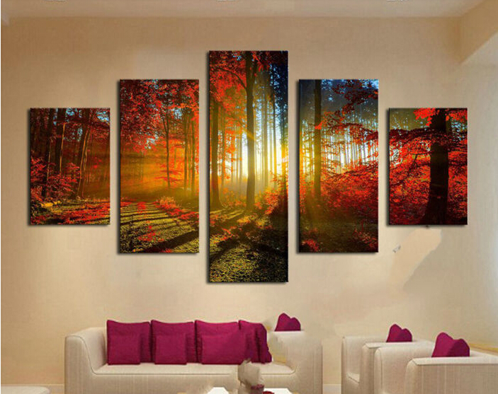 Forest And Sunset Sunlight Autumn Red Woods 5 Panel Canvas Print Painting Modern Wall Art Home