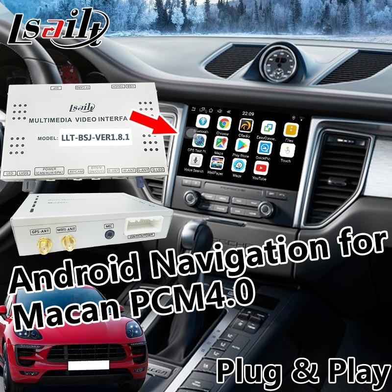 Android 6.0 GPS Navigation pour 2017-2018 Porsche Macan avec WIFI, Miroir, En Ligne de Navigation, live Navigation etc.