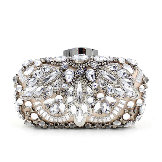 Luxury Fashion Women Evening Bags Bead Rhinestone Day Clutches Female Wedding Bridesmaid Party Banquet Charm Chains Handbag
