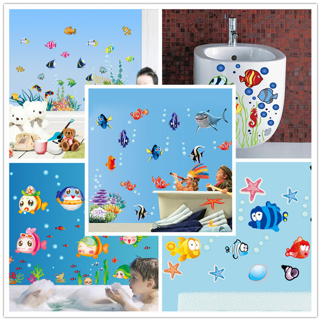 Underwater Finding Nemo Colorful Fishes Aquatic Plants Cartoon Kids Room Decor Bathroom Decor Wall Sticker 617