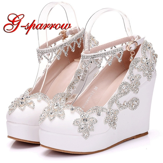 2018 New Fashion Silver Rhinestone Wedge Heels White Color Wedding Shoes  Ankle Straps Beautiful Lady Party Prom Heels Plus Size a69298d409f9