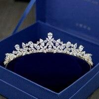 Romantic Jewelry Wedding Hair Accessories Bridal Crown Gold Royal Princess Crystal Tiara and Crowns Zircon Headpiece HG1024
