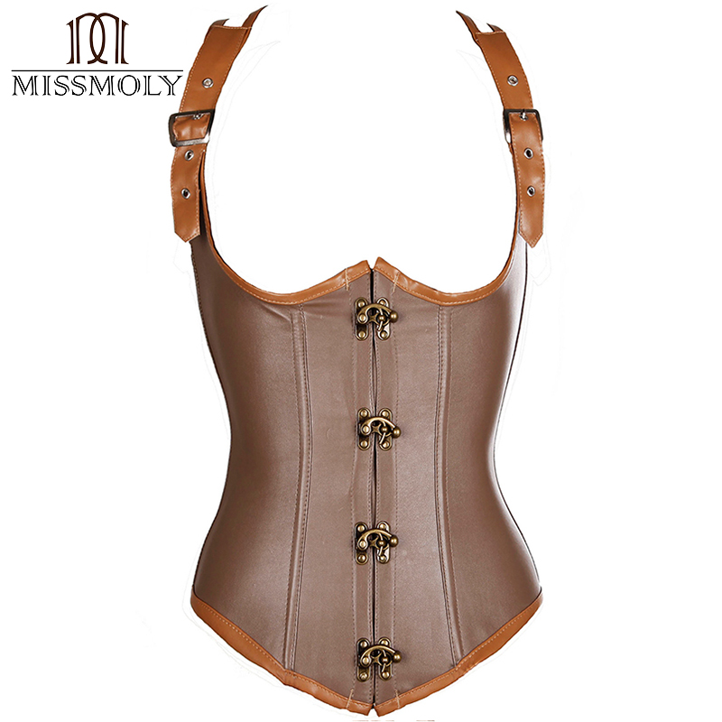 Miss Moly Women's Steampunk Clothing Brown Corset Bustier Top Plus Size Gothic Sexy Lingerie Halter Waist Cincher Shapewear