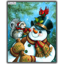 Вышивка из страз mooncresin «сделай сам» «Снеговик» игра с белкой