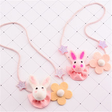 Korea Handmade New Cute Rabbit Head Star Flower Fabric Children Necklace For Girls Kids Pendant Apparel Accessories-HZPRCGNL023F