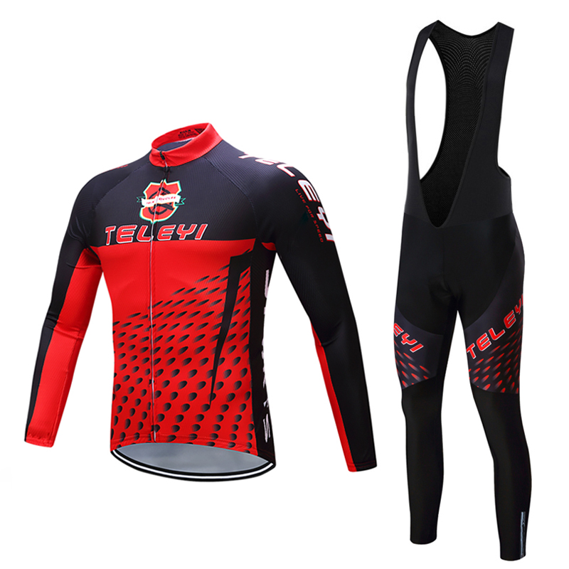 Pro Team Men's Racing Bike Clothes Sets TELEYI Winter Thermal Fleece Bicycle Jersey Wear Kits Cycling Clothing Skinsuit Maillot teleyi 2017 women winter thermal fleece cycling clothing pro bike clothes wear mtb bicycle jersey set maillot ropa ciclismo sets