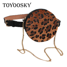 Women Chain Belt Leopard PU Fanny Bum Ket Pack For Lady Round Waist Bag Black Red Camel