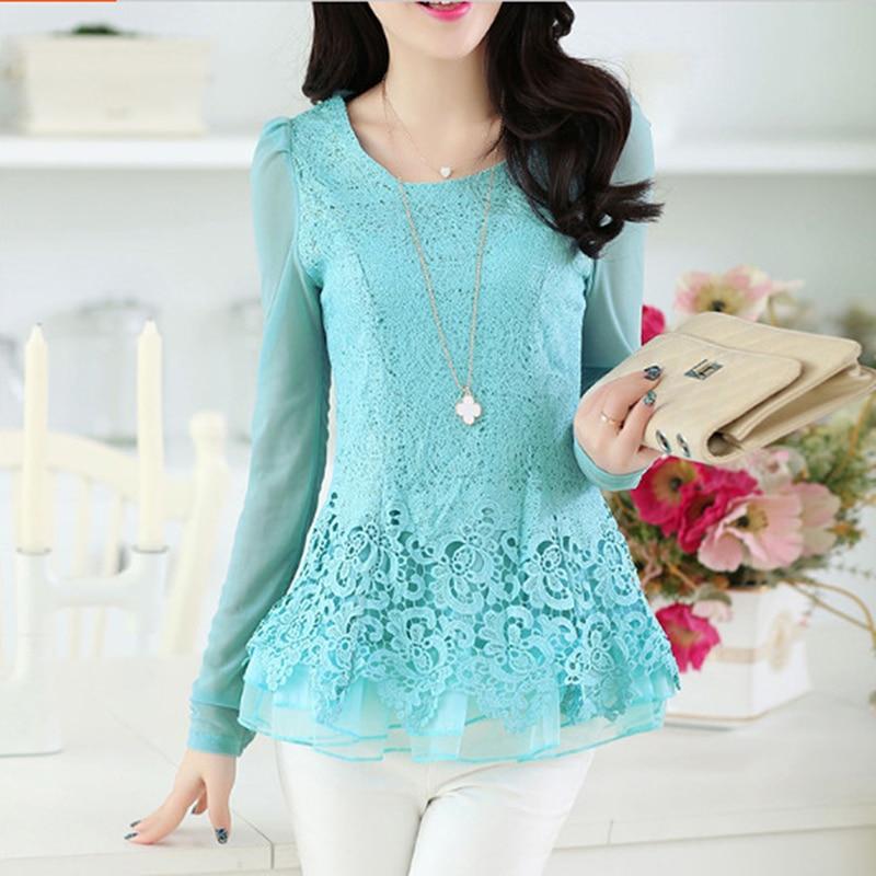 GAOKE Elegant long sleeve bodysuit Women lace blouse shirts crochet tops blusas Mesh chiffon blouse female clothing