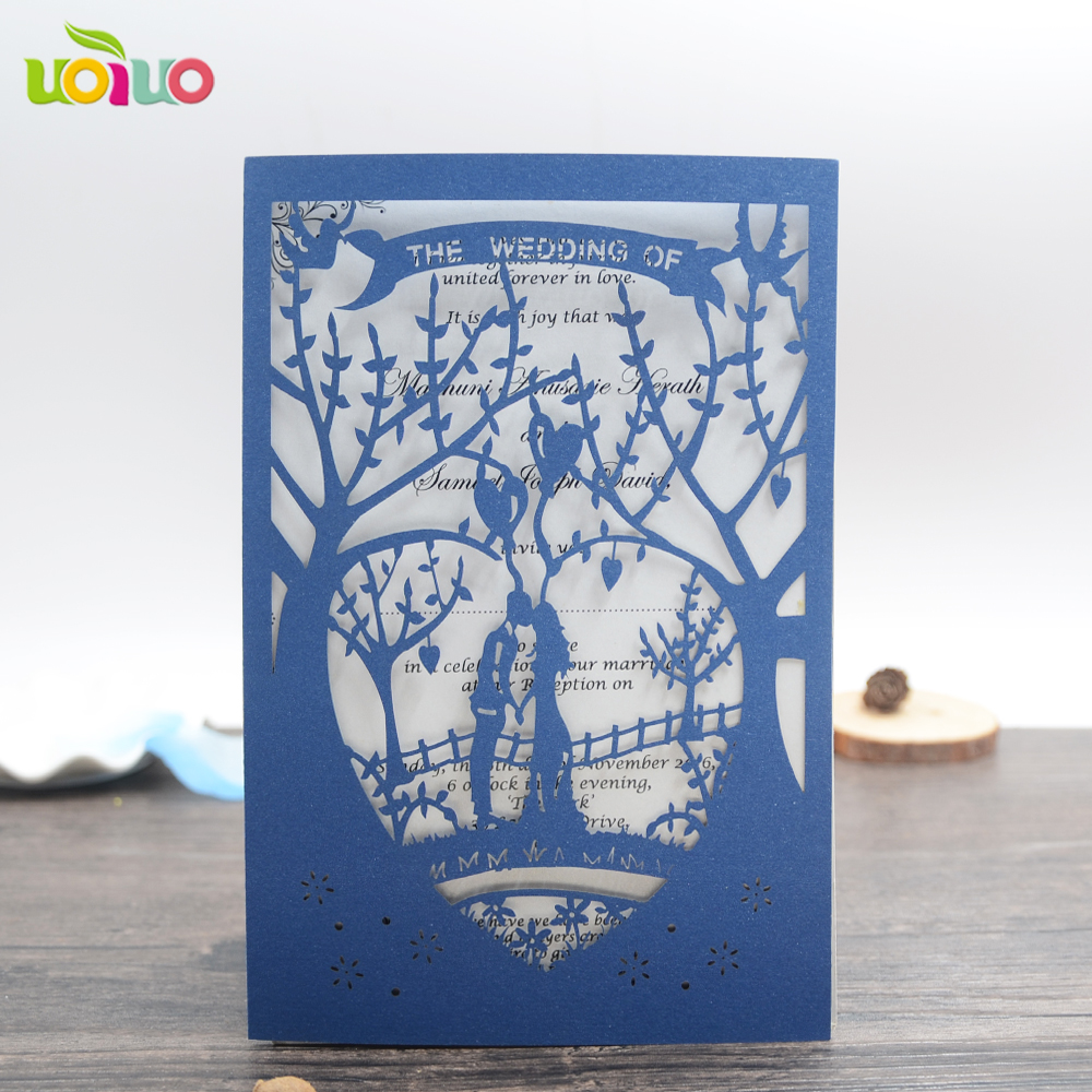 49 04 Azul Marino Tarjetas De Invitación De Boda Personalizadas Corte Láser Invitaciones De Boda Precio Con Cinta In Tarjetas E Invitaciones From