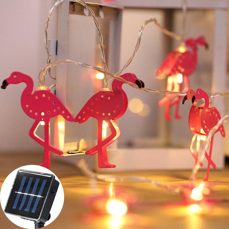 5M 20Led Pink Metal Flamingos LED Solar Garlands Garden Light Waterproof Lustres String Lampada luminaria decor Outdoor Light