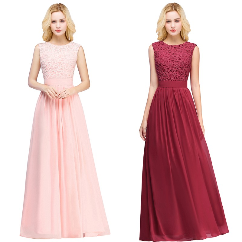 Long   Bridesmaid     Dresses   Burgundy Pink Chiffon 2019 Scoop Neck Sleeveless Wedding Party Guest Gown robe demoiselle d'honneur