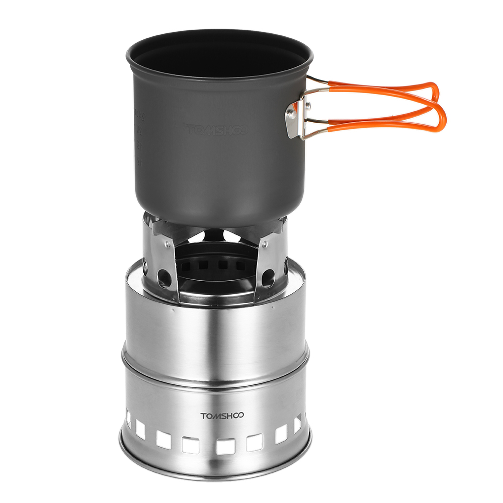 Image 2 - TOMSHOO Portable Folding Windproof Wood Burning Stove Compact Stainless Steel Alcohol Stove Outdoor Camping Hiking Backpacking-in Outdoor Stoves from Sports & Entertainment