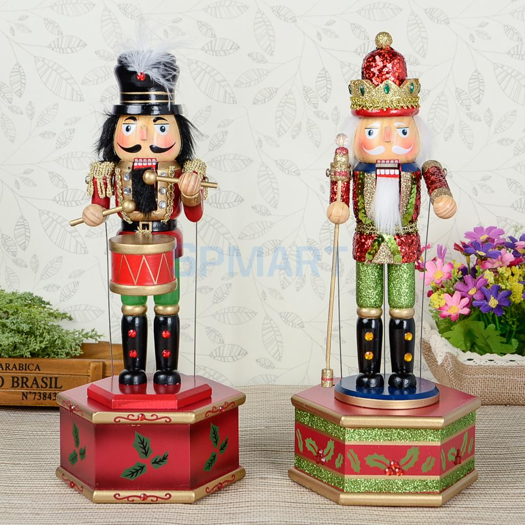 32cm Classic Hand Painted Wooden Nutcracker King/Drummer Soldier Model Music Box Wind Up Toy Christmas Decor Ornaments Xmas Gift
