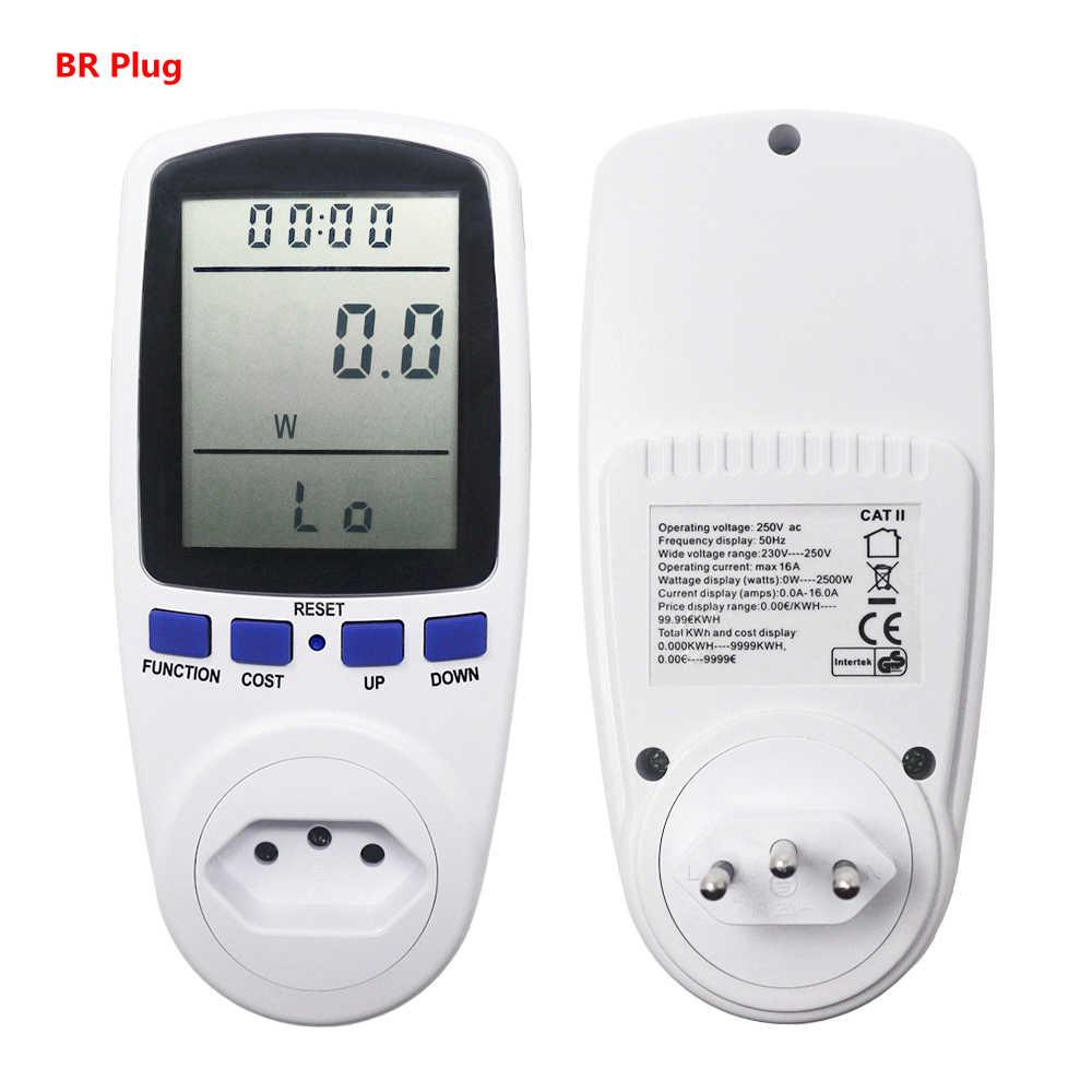 EU 플러그 AC 전력계 디지털 전력계 와트 모니터 전력 소비 전력 분석기 에너지 미터 측정 소켓