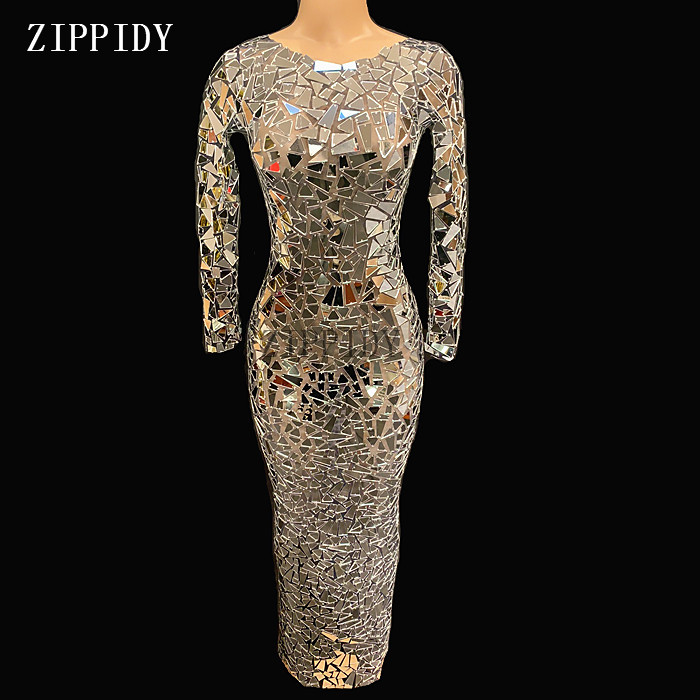 Black Mesh Perspective Sparkly Mirrors Long Dress Evening Party Wear Dresses Birthday Celebrate Costume Performance Dress