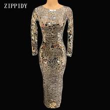 Siyah Mesh perspektif Sparkly aynalar uzun elbise akşam partisi kıyafeti elbiseler doğum günü kutlamak kostüm performans elbise YOUDU