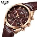 2016 Mens Watches Top Brand Luxury LIGE Men's Leather Quartz Watch Men Waterproof Fashion Casual Wrist watches relogio masculino
