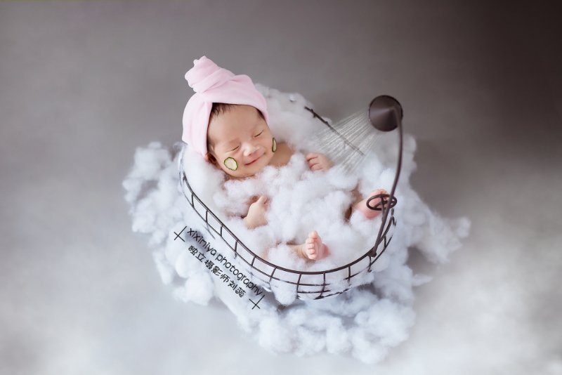 Newborn Photography Props Basket Creative Bathtub Props Baby Photo Assistant Frame Full Moon Baby Picture